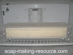 acrylic soap mold in freezer