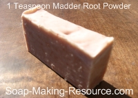 Soap Colored with 1 Teaspoon Madder Root Powder