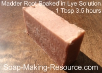 Madder Root Soap from Soaking Madder Root in Lye Solution