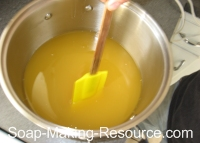 mixing calendula soap manually
