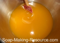 Mixing Honey into Honey Soap Recipe