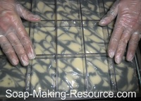Placing Bar Dividers into Soap