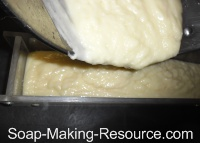 Pouring Castile Soap Recipe into Mold