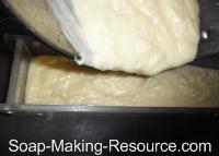 Pouring Castile Soap Recipe into Mold