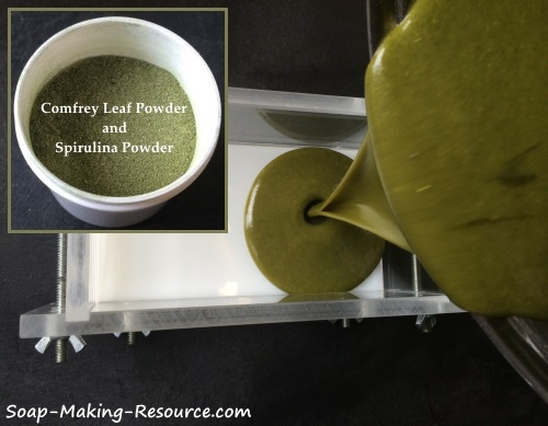 Pouring Comfrey Leaf Powder and Spirulina Powder Soap into Mold