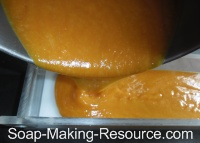 Pouring Honey Soap Recipe into Acrylic Mold