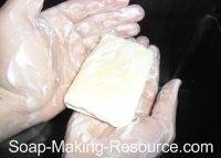Goat's Milk Soap Lathering in Hands