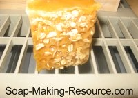 Honey Oatmeal Soap Curing on Rack