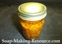 Leaving Calendula Petals in the Jojoba Oil Ointment Batch