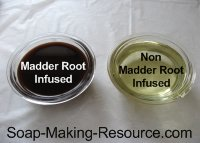 Madder Root Infused Oil Next to Non-infused Oil