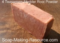 Soap Colored with 4 Teaspoon Madder Root Powder