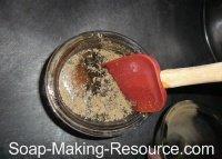 Mixing Black Walnut Hull into Small Soap Portion