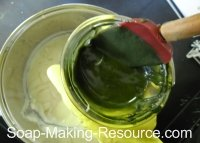 Mixing Spirulina Powder into Small Portion of Soap