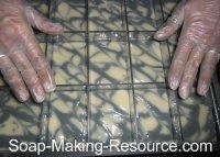 Placing Bar Dividers into Soap