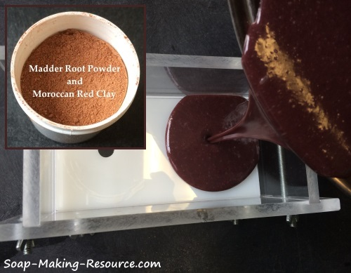 Pouring Madder Root Powder and Moroccan Red Clay Soap into Mold