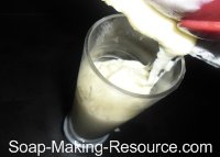 Pouring Soap into Acrylic Cylinder Soap Mold