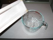 Measuring water for melt and pour soap making