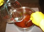 pour lye into oils